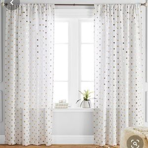 Ivory Gold Polka Dot Window Panels